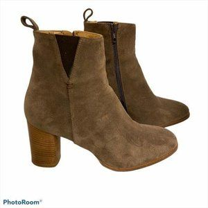 Napoleoni Ankle Boots Suede Taupe 40 Block Heel 10